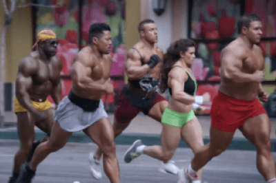 Bodybuilders running